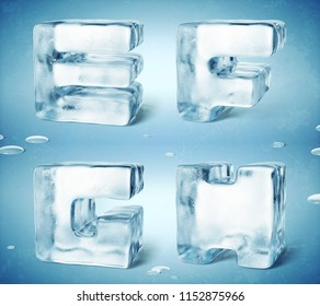 3d render of shiny frozen ice cube letters.