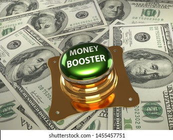 3D render of shiny metal Money Booster pushbutton placed on pile of 100 dollar banknotes