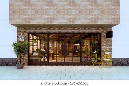 3d render of shop exterior view