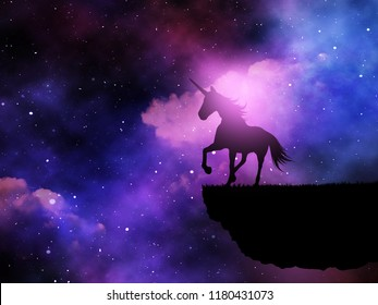3D render of a silhouette of a fantasy unicorn against a space night sky