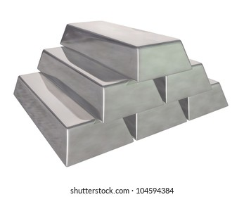 3d render of Silver bars on a white background