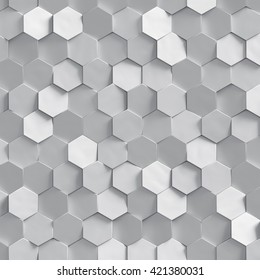 3d render, silver honeycomb texture, white clusters digital illustration, abstract geometric background