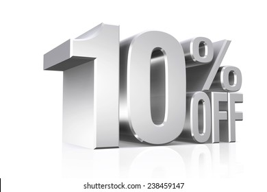 3D render silver text 10 percent off on white background with reflection.