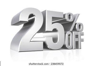 3D render silver text 25 percent off on white background with reflection.