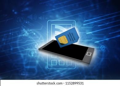3d render SIM on a mobile