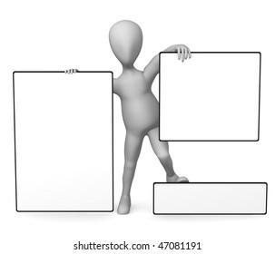 3 d render simple character blank template stock illustration 3d render of simple character with blank template maxwellsz