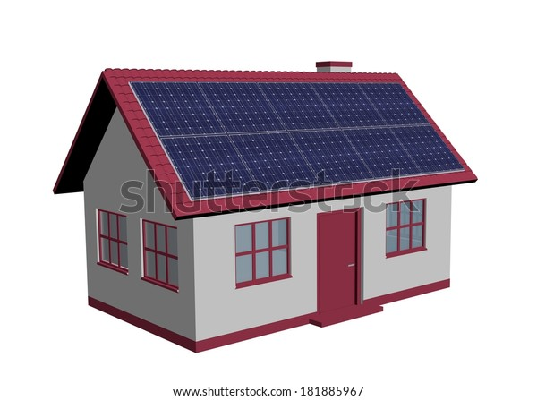 3d Render Simple House Model Solar Stock Illustration 181885967