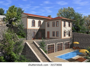 3D render of a single family house