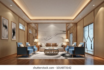 3d render of sitting area in office