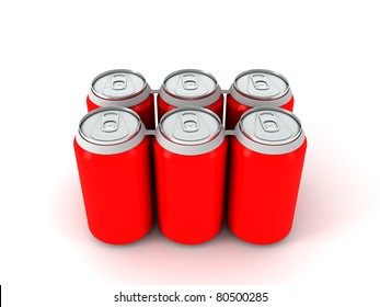 3d render of six red aluminum cans over white background