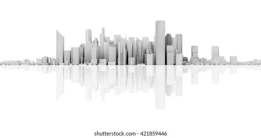 3d render of skyline isolated with reflection on floor