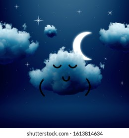 3d render, sleeping dreaming cloud cartoon character, silent night dream concept. Calm emotion. Sleepy mascot isolated on dark blue background. Funny kawaii weather illustration for kids