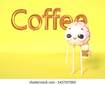 3d render of a sleepy brain-guy with a cup of coffee