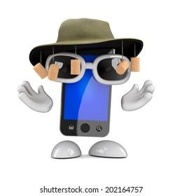 3d render of a smartphone wearing an Australian bush hat with corks