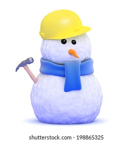 3d render of a snowman construction worker