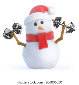 3d render of a snowman working out with weights