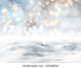 3D render of a snowy landscape against a bokeh lights background