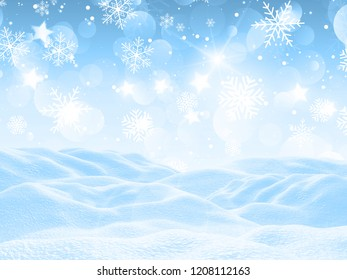 3D render of a snowy landscape with falling snowflakes