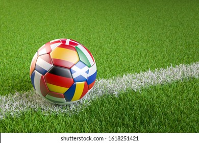 3D render: Soccer ball with flags of all hosting countries of European Soccer Championship 2020 (Germany, France, Netherl., Italy, Romania, Hungary, Spain, England, Scotland, Denmark, Ireland, Russia)