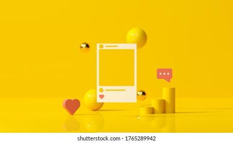 Rendu en 3D Social Media avec cadre photo, comme des formes géométriques et des boutons sur fond jaune, illustration.