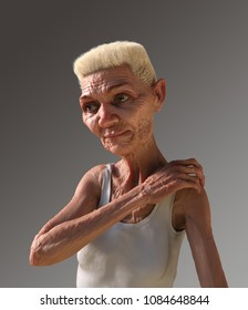 3D render of a somewhat androgynous looking elderly lady with a white afro.
