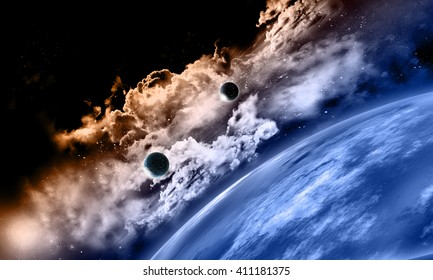 3D render of space background with fictional planets