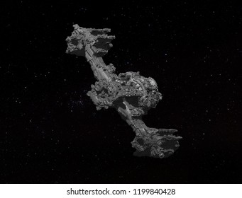 3D render of a spaceship. Original design Sci-Fi fantasy spacecraft on a background of stars.