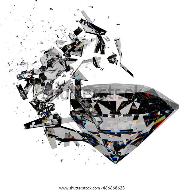 3d Render Sparkling Diamond Broken Stock Illustration 466668623