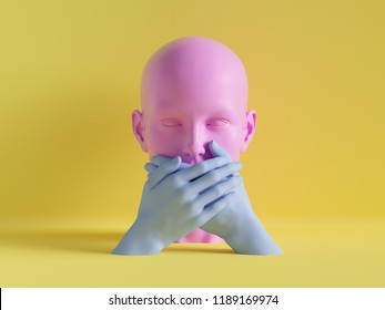 3d render, speechless female mannequin head, mouth closed by hands, silence concept, isolated object, minimal fashion background, shop display, pink blue yellow pastel colors