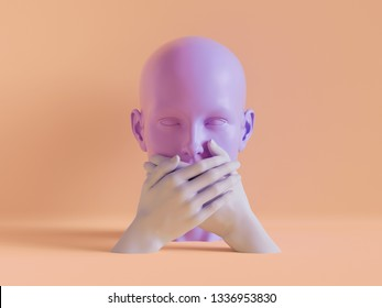 3d render, speechless female mannequin head, mouth closed by hands, silence concept, isolated object, minimal fashion background, shop display, pink peachy violet pastel colors