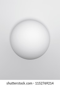3d render of sphere. A ball hanging in the air with the  light wall on the background