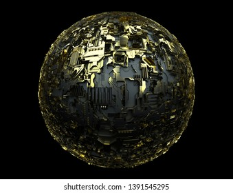 3d render of 3d sphere gold and black mater metal material with computer scheme pattern on black background