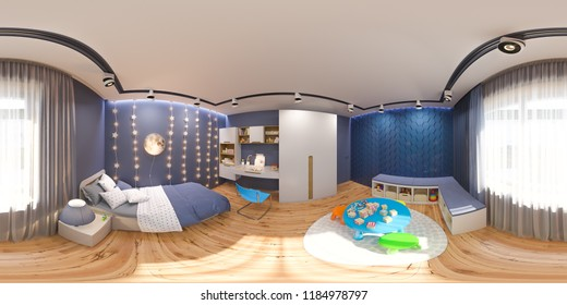 3d render spherical 360 degrees, seamless panorama of the children's bedroom in deep blue color. Visualization of the concept of interior design kids room for boy in a space theme.