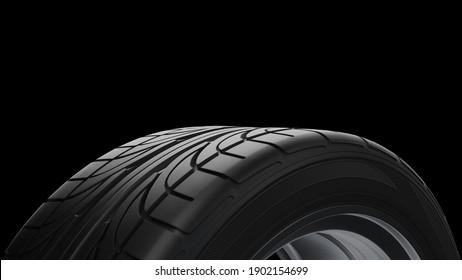 3d render Spinning car wheel on a black background