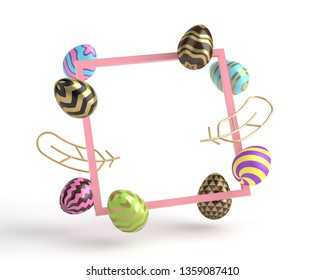 3d render square frame, eggs and golden feathers, minimalistic concept on white background