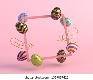 3d render square frame, eggs and golden feathers, minimalistic concept on pink background