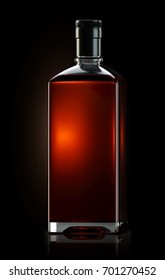 3d render of square shaped bottle filled with strong whiskey
