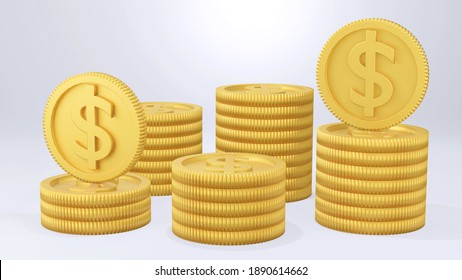 3D render stack of dollar coins on white background.