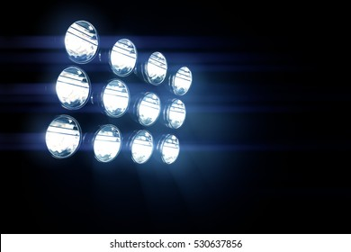 3d render Stadium lights with glare.