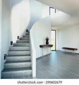 3D render of a stairway with dark floor