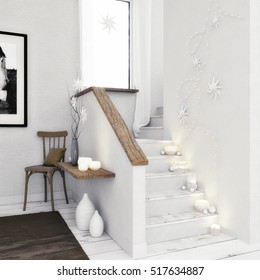 3D render - Stairways With Lights and Christmas Decoration