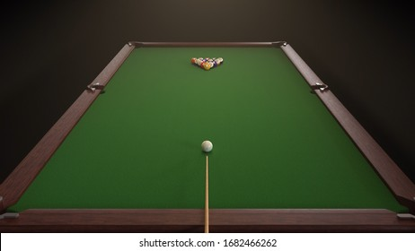 3d render Starting shot of a billiard game