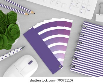 3d render of stationery with color palette guide lying on wooden desk. Ultraviolet. Color of the year 2018.
