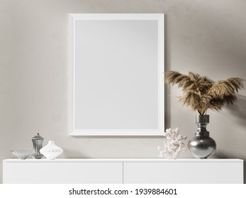 3d render. Still-life with empty frame. Mock-up for your art