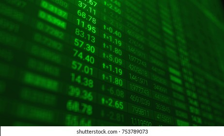 3d render Stock market chart or data on LED display. Various type of financial and investment products in Bond market. Data analyzing in forex market trading: the charts and summary info