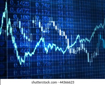 3d Render Stock Market Graph