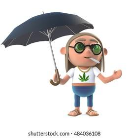3d render of a stoner hippie under an umbrella
