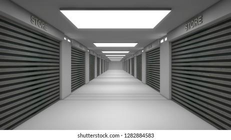 3d render. Store and warehouse corridor