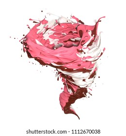 3d render the storm included between chocolate milk and strawberry splash isolate on white background