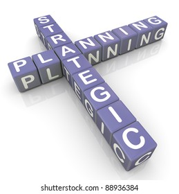 3d render of strategic planning crossword